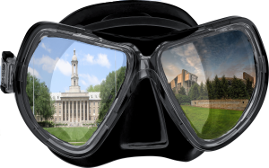 scuba mask with a picture of             Penn State's Old Main building in one lense and a picture of             Beaver Stadium in the other